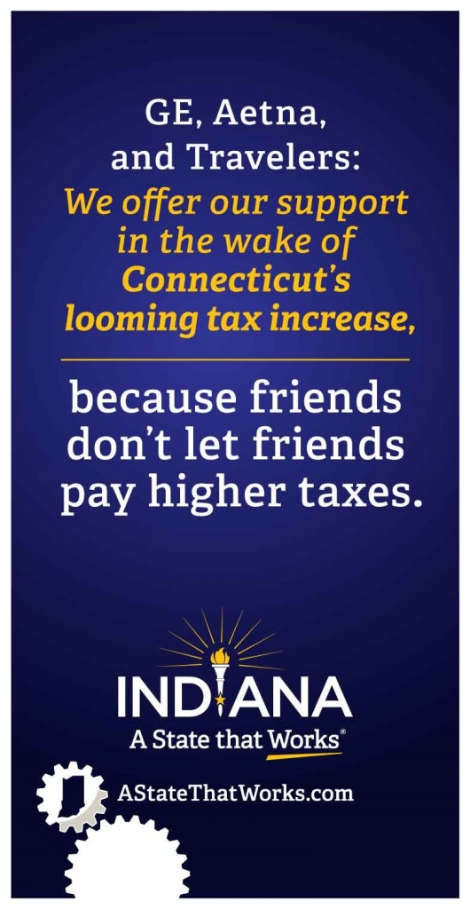 A full-page ad taken out by the state of Indiana in the Wall Street Journal Wednesday, June 10, 2015, is part of an effort by the Hoosier State Gov. Mike Pence to pry businesses away from the home state of Connecticut rival Dannel P. Malloy. Source: Indiana Economic Development Corporation