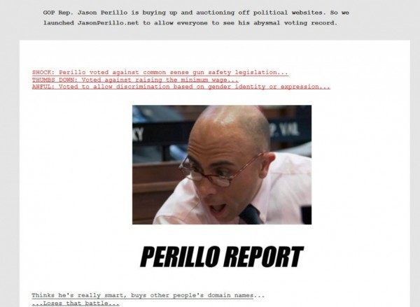State Rep. Jason Perillo, R-Shelton, is the target of a parody website created by the state Democratic Party, shown in this screen capture taken Monday, Feb. 22, 2016.